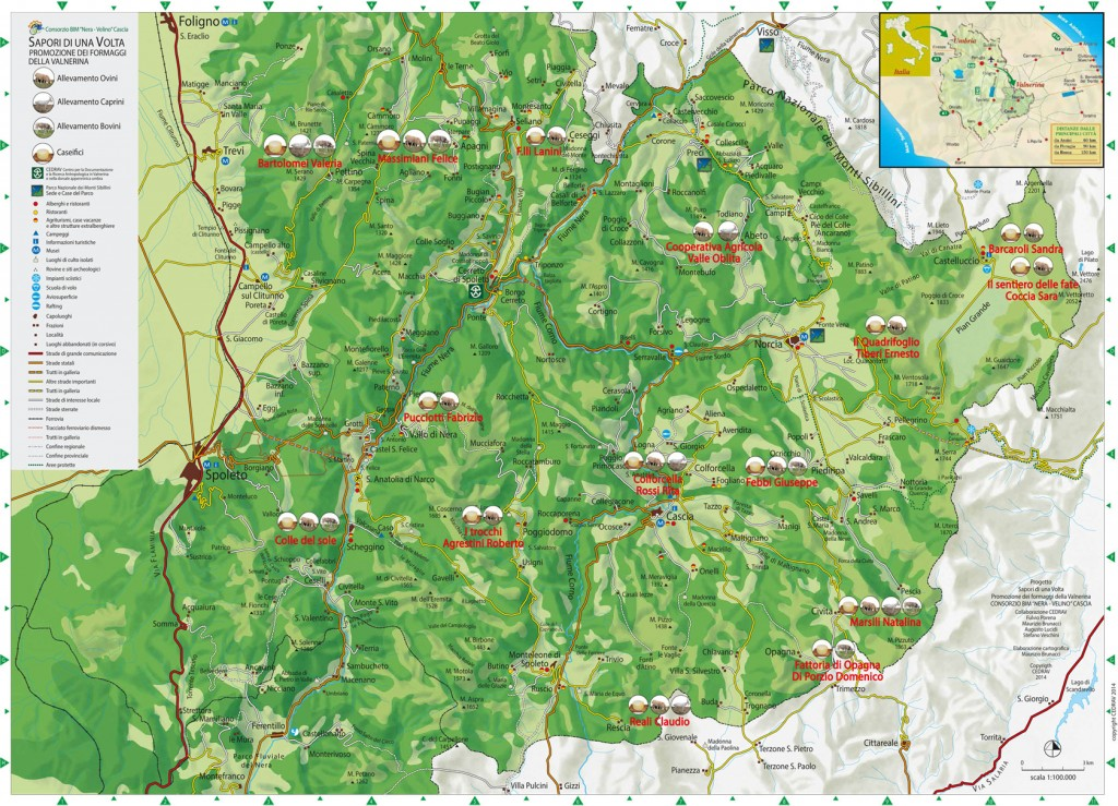 Mappa Formaggi Umbria